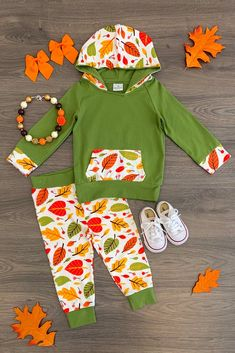 Olive Leaf Fall Hoodie Pant Set - Sparkle In Pink leafprints Little Girl Outfits, Toddler Girl Outfits, Kids Outfits, Kids Boutique, Boutique Clothing, Kid Clothing, Fashion Books, Kids Fashion, Olive Green Hoodie