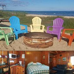 This two-bedroom Lake Huron vacation rental from Team Coast 2 Coast is a traditional cabin experience with private beach frontage! Book direct with the local manager for the best rate: #greatlakes #itscabintime #travelmi #bookdirect