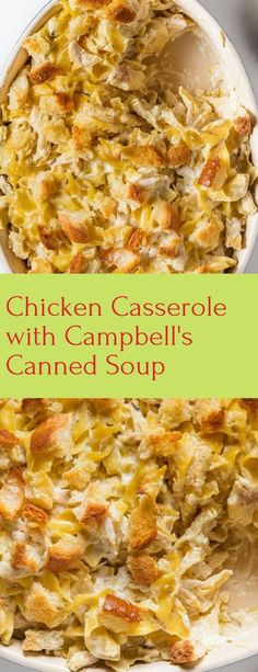 This classic casserole is convenience cooking to a T, using prepared ingredients like canned soup and sour cream. But one bite, and you'll overlook the prepackaged stuff and go back for seconds. Casserole Dishes, Casserole Recipes, Recipe For Chicken Casserole, Chicken Casserole With Stuffing, Pasta Dishes, Food Dishes, Main Dishes, Cambells Recipes, Cooking Recipes