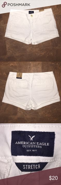 White American Eagle Shorts Great fit and super cute shorts! Low rise, midi. American Eagle Outfitters Shorts Jean Shorts