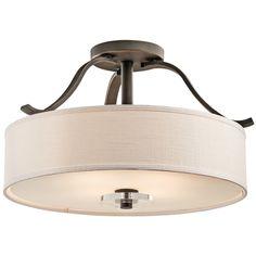Kichler Lighting Semi-Flushmount Light with Beige / Cream Glass in Olde Bronze Finish | 42486OZ | Destination Lighting