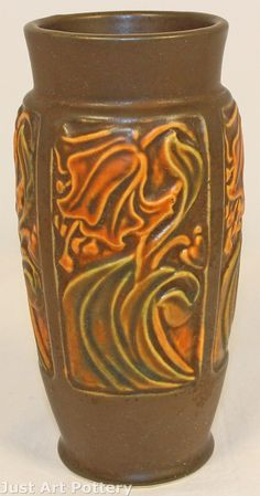 Roseville Pottery Rosecraft Panel Brown Vase from Just Art Pottery
