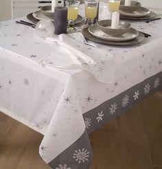 Flocon de neige Noël nappes,100/% polyester serviettes /& tablerunner disponible