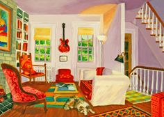 Roxa Smith: Maura and Billy House Art, Paintings, Interior, Fun, Purple, Paint, Indoor, Painting Art, Interiors