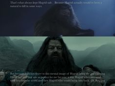 "Hagrid and Harry.  ""That's what always kept Hagrid safe.   Because Hagrid actually would've been a natural to kill in some ways.  But because I always cleave to this mental image of Hagrid being the one carrying Harry out and that was so perfect for me because it was Hagrid who came and took him into the world and then Hagrid who would bring him back."" -JK Rowling"