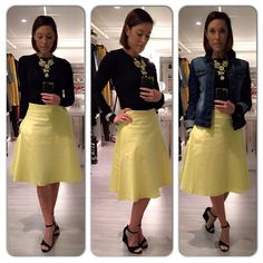 #ootd #vintage #skirt #yellow #blacktop #jeansjacket  Top @simons  Skirt @simons Jeans Jacket @ Suzy Shier Shoes @spring
