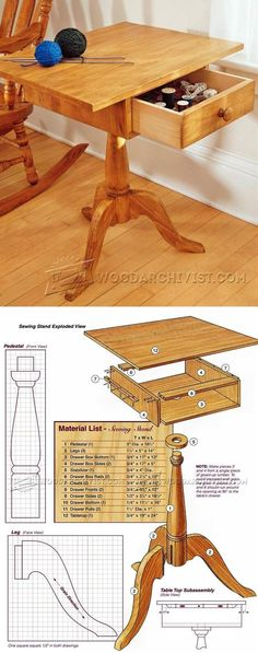 Sewing  Stand Plans - Woodworking Plans and Projects | WoodArchivist.com