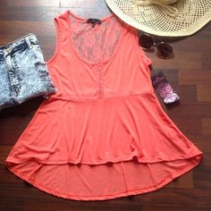 Top -PRICE F I R M- Cute coral and lace peplum top Almost Famous Tops
