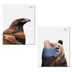 Rustic Double Exposure Clean Nature Eagle and Bear Landscape Set; Cabin Lodge Decor; Two 11x14in Unframed Paper Posters #rusticcabindecor