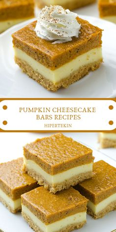 PUMPKIN CHEESECAKE BARS RECIPES Pumpkin Cheesecake Bars – Will make for a super tasty sweet treat during the fall and holiday season. This perfect Pumpkin Cheesecake Bars is delicious and very good! Pumpkin Pie Mix, Pumpkin Bars, Pumpkin Dessert, Cream Cheese Pumpkin Pie, Pumpkin Squares, Pumpkin Pie Cupcakes, Pumpkin Dishes, Spiced Pumpkin, Pumpkin Pancakes
