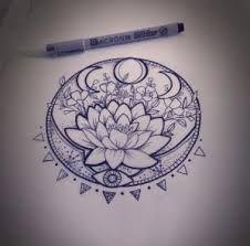 Resultado de imagen para lotus flower moon tattoo
