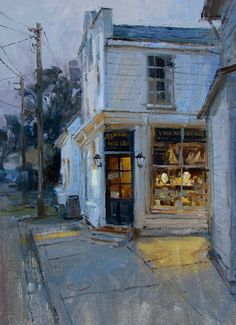 Mike Kowalski‎ 9 x 12 oil. Tucked Away, This shop is gone now. Paint it when you see it!