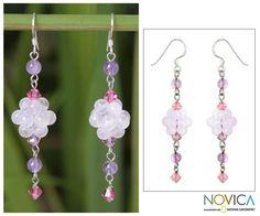 Enchanted Bloom - Sterling Silver Beaded Rose Quartz Earrings at The Veterans Site