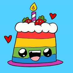 Tarta Happy #kawaii #cute #cake #tarta #kawaiicake #cutecake #drawing #drawings #draw #draws