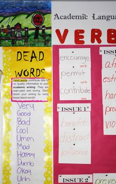 "Anchor Chart and artwork students created to display ""dead words"" for our classroom; middle school."