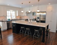 Kitchen Design, Contemporary L Shaped Kitchen Layout Also Black Elegant Kitchen Island With White Marble Countertop Also Round Kitchen Stools Also Unique Pendant Lamp Design Also Traditional Windows Design And White Cabinet: L Shaped Kitchen layout for Pretty Home