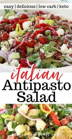 Vegetable Salad Recipes, Vegetarian Salad Recipes, Salad Recipes For Dinner, Easy Healthy Recipes, Italian Vegetable Dishes, Italian Main Dishes, Healthy Italian Recipes, Tomato Salad Recipes, Side Salad Recipes