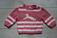 Baby Gap Pink & White Striped Reindeer Sweater