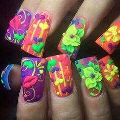 Flourecentes Nails, Beauty, Mary, Colorful, Ideas, Acrylic Art, Fingernail Designs, Finger Nails, Ongles