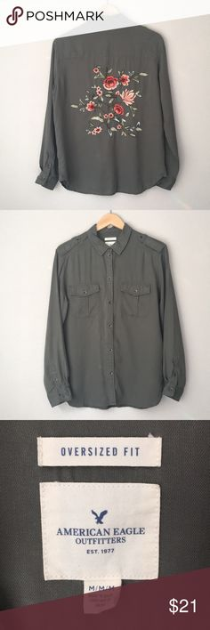 American Eagle Floral Embroidered Button Down American Eagle Embroidered Button Down Amazing embroidery on the back, perfect olive green button-up! Chuck on over jeans and tee and add some black boots 🤘 Has a 'boyfriends flannel' type fit. American Eagle Outfitters Tops Button Down Shirts
