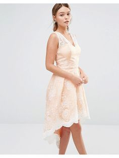 Chi Chi London High low prom dress in embroidered lace