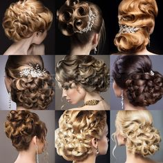 Collection of wedding hairstyles. Beautiful girls. Beauty hair. Photo taken in the studio.