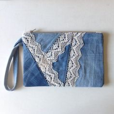 SUMMER SALE DENIM wristlet with lace detailing // patchwork