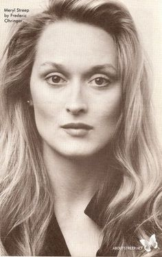 Meryl Streep THE greatest actress of OUR generation! Unfortunately, NEW Hollywood is headed in a very different direction, so unless she dons GREEN SCREEN animation garb, and becomes another Avatar wannabe, I think we might see less and less of her! Hollywood Glamour, Hollywood Stars, Old Hollywood, Hollywood Actor, Pretty People, Beautiful People, Beautiful Women, Timeless Beauty, Classic Beauty