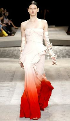 Givenchy Haute Couture  This dress has been on my desktop for years. Love the white fabric with the bright red and orange at the end. Work of art!
