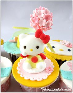 Adorable Hello Kitty cupcake...oh how I wish I had more time!  How do these people have time for Pinterest and Cake Decorating???