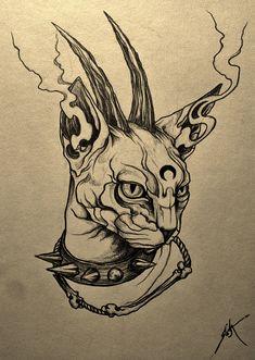 The Brutal Cat por Seba-Flames Creepy Drawings, Dark Art Drawings, Tattoo Design Drawings, Creepy Art, Art Drawings Sketches, Cool Drawings, Tattoo Designs, Satanic Art, Arte Sketchbook