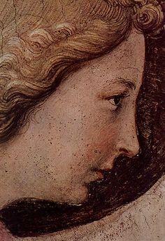 Beato Angelico, Annunciazione del corridoio nord, dettaglio del volto dell'Angelo,  Museo Nazionale di San Marco, Firenze - / - (E perché i due volti dell´Angelo e della Vergine si somigliano così tanto?)