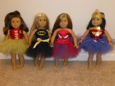 American Girl Doll super hero outfits so cute American Girl Outfits, American Girl Doll Costumes, American Girl Crafts, American Doll Clothes, Ag Doll Clothes, Girl Costumes, American Girls, Batman Costumes, Costume Craze