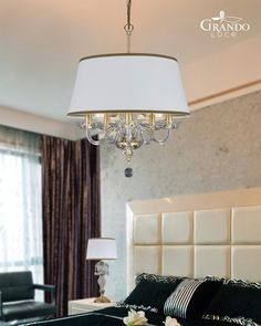 104 SP 5 gold leaf crystal pendant light with pvc white gold lamp shade and Swarovski Spectra crystals Crystal Pendant Lighting, Pendant Lights, Gold Lamp Shades, Gold Leaf, Spice Things Up, Living Spaces, Swarovski, Chandelier, White Gold