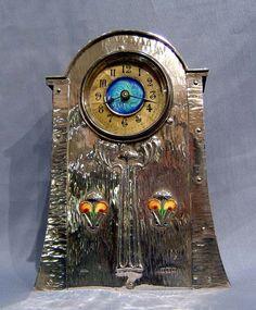 Antique silver & enamel Art Nouveau clock in manner of Liberty - Gavin Douglas Antiques