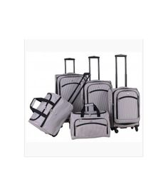 Oxford Collection Pin Striped 5 Piece Spinner Luggage