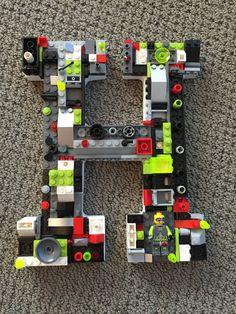 Custom wall letter toy bricks H by MosaicTreasureBox on Etsy