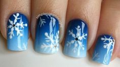 How to paint cute snowflake nail art manicure step by step DIY tutorial instructions