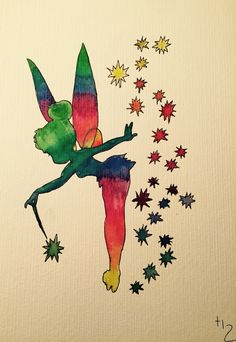 New drawing... aquarell//tinkerbell//rainbow