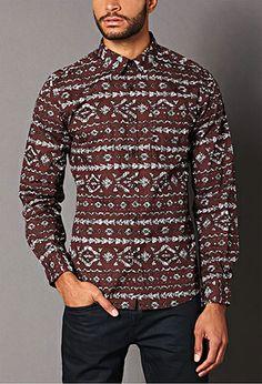 Classic Fit Tribal Print Shirt | 21 MEN - 2000127593