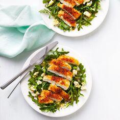 chrispy-chicken-blue-cheese-salad-recipe-0721DIN Breaded Chicken Cutlets, Crispy Chicken, Cooked Chicken, Main Dish Salads, Dinner Salads, Main Dishes, Easy Salad Recipes, Dinner Recipes, Summertime Salads