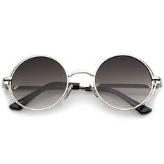 Retro Open Metal Frame Slim Temples Flat Lens Round Sunglasses 49mm