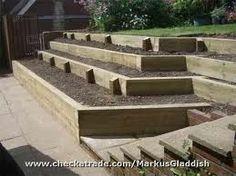 sunken patio with tiered gardens   railway sleepers garden - Google Search