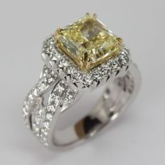 Fancy Yellow Diamond Engagement ring from Oliver Smith Jeweler.