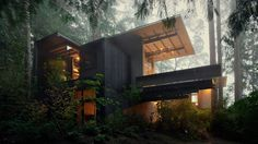 """What better opportunity for an architect to express his vision and explore his skills than to build his own house. That's exactly what Jim Olson's cabin, nestled amidst fir and cedar trees and overlooking Puget Sound in rural Washington State, is all about: his desire """"to be part of nature and observe nature""""."""