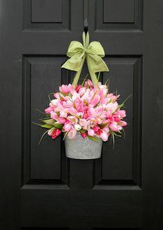 Tulips on front door