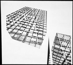 Harry Callahan, Skyscrapers seen in abstraction, 860-880 Lake Shore Drive Apartments (1948-1951), ca. 1950