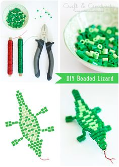Beaded lizard, photo tutorial from Craft & Creativity.