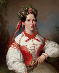Polish Costumes: costume from Kraków, Poland on the painting by Marcin Jabłoński Folk Costume, Costume Dress, Costumes, Polish Clothing, Polish Folk Art, Portraits, Traditional Dresses, 19th Century, Culture