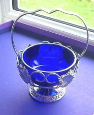 UNUSED QUEEN ANNE VINTAGE COBALT BLUE JAM SUGAR BOWL SILVER PLATE CRADLE MINT